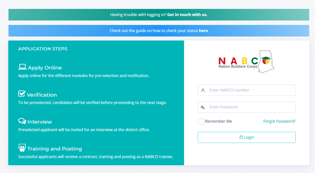 NABCO Stipends Login Page
